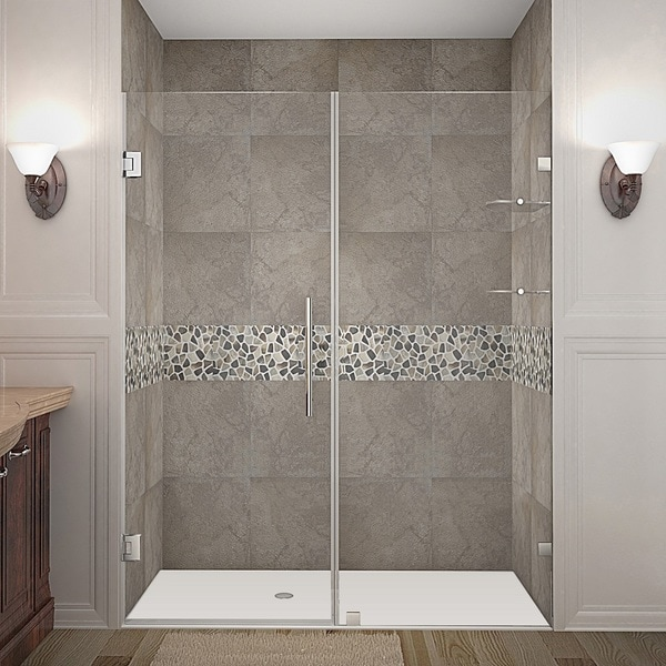 Aston Nautis GS 60-in x 72-in Completely Frameless Hinged Alcove Shower Door in Chrome w. Glass Shelves