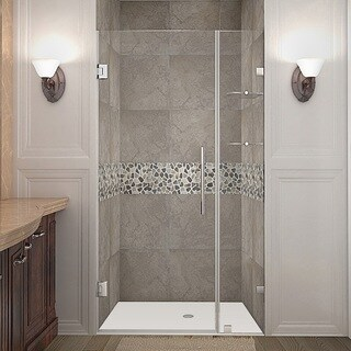 Aston Nautis GS 39-in x 72-in Completely Frameless Hinged Alcove Shower Door in Chrome w. Glass Shelves