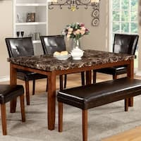 Furniture of America Hughfort Antique Oak Faux Marble Dining Table