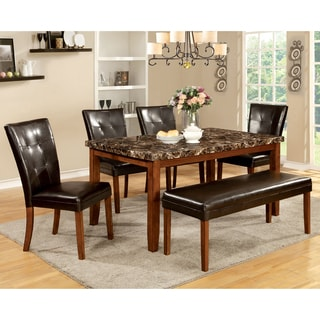 Furniture of America Hughfort 6-Piece Antique Oak Dining Set