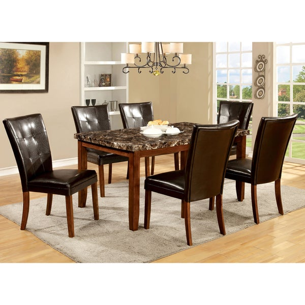 Furniture of America Hughfort 7-Piece Antique Oak Dining Set