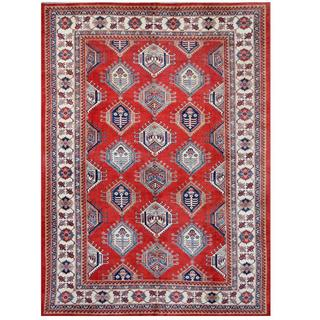 Herat Oriental Afghan Hand-knotted Tribal Super Kazak Red/ Ivory Wool Rug (9'10 x 13'7)