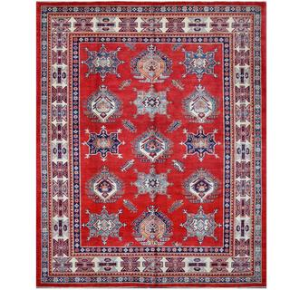 Herat Oriental Afghan Hand-knotted Tribal Super Kazak Red/ Ivory Wool Rug (7'11 x 9'10)