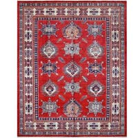 Herat Oriental Afghan Hand-knotted Tribal Super Kazak Wool Rug (7'11 x 9'10) - 7'11 x 9'10