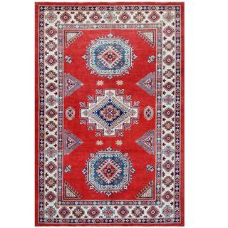 Herat Oriental Afghan Hand-knotted Tribal Super Kazak Red/ Ivory Wool Rug (6'2 x 9'3)