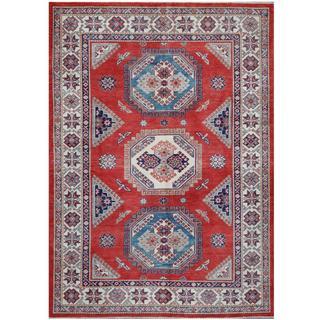 Herat Oriental Afghan Hand-knotted Tribal Super Kazak Red/ Ivory Wool Rug (5'6 x 7'8)