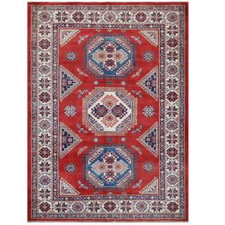 Herat Oriental Afghan Hand-knotted Tribal Super Kazak Red/ Ivory Wool Rug (5'7 x 7'7)