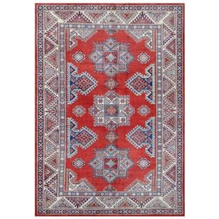 Herat Oriental Afghan Hand-knotted Tribal Super Kazak Red/ Ivory Wool Rug (5'7 x 7'11)