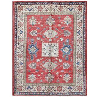 Herat Oriental Afghan Hand-knotted Tribal Super Kazak Red/ Ivory Wool Rug (5'1 x 6'5)