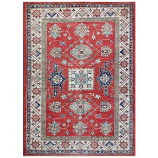 Herat Oriental Afghan Hand-knotted Tribal Super Kazak Red/ Ivory Wool Rug (4'10 x 6'8)