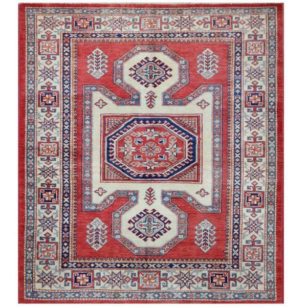 Herat Oriental Afghan Hand-knotted Tribal Super Kazak Wool Rug (4'8 x 5'4) - 4'8 x 5'4