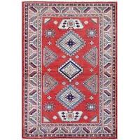 Handmade Herat Oriental Afghan Tribal Super Kazak Wool Rug  - 4'1 x 5'10 (Afghanistan)