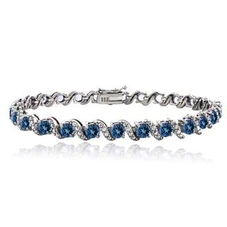 Glitzy Rocks Sterling Silver London Blue Topaz Diamond Accent S Bracelet
