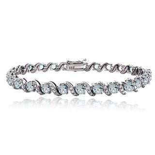 Glitzy Rocks Sterling Silver Aquamarine Diamond Accent S Bracelet