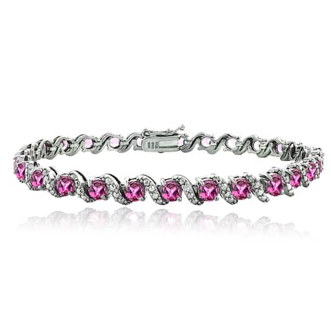 Glitzy Rocks Sterling Silver Pink Tourmaline Diamond Accent S Bracelet