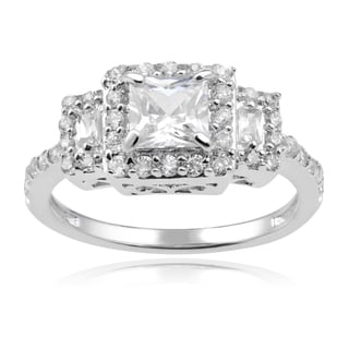 Journee Collection Sterling Silver Square Cubic Zirconia 3-stone Engagement Ring