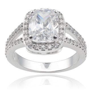 Journee Collection Sterling Silver Radiant Cubic Zirconia Engagement Ring