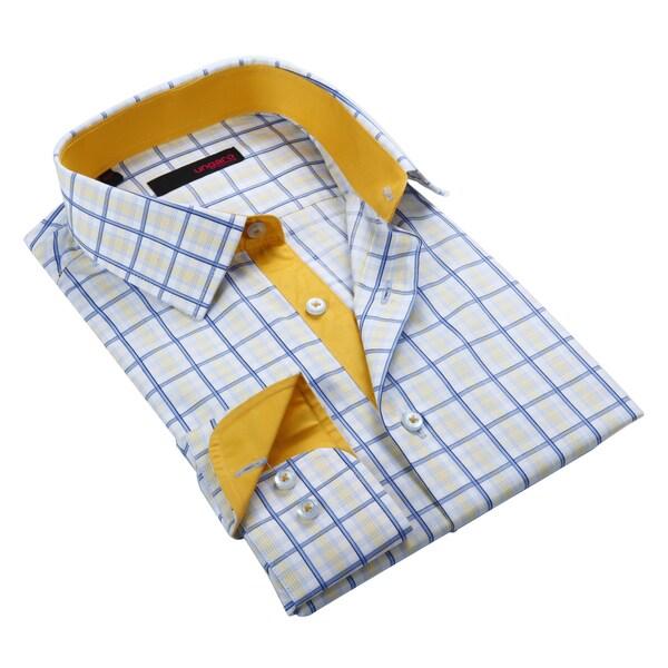 Ungaro men 39 s yellow and blue plaid cotton dress shirt for Blue and yellow dress shirt