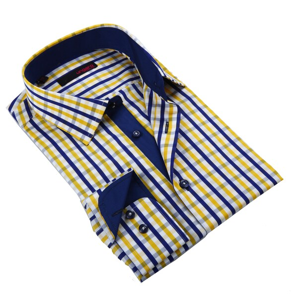 a38e45cdf Shop Ungaro Men s Blue and Yellow Cotton Dress Shirt - Free Shipping Today  - Overstock - 9937490