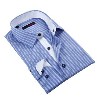 Ungaro Men's Blue and White Cotton Dress Shirt