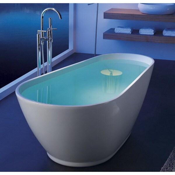 Shop Modern Slipper 69-inch Freestanding Acrylic Bathtub - Free ...