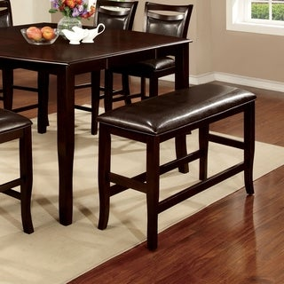 Furniture of America Clemmine Espresso Wood Counter-height Dining Bench