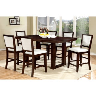 Furniture of America Redora Contemporary 7-Piece Espresso Counter Height Dining Set