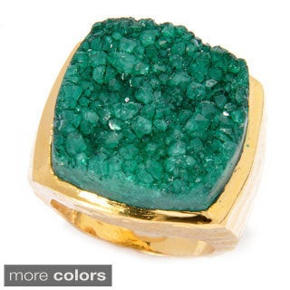 Goldplated Rough-cut Sugar Druzy Square Ring