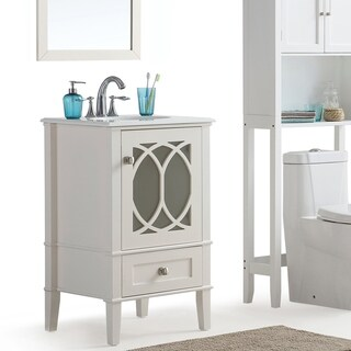WYNDENHALL Mulberry 20 inch Bath Vanity in Soft White with White Engineered Quartz Marble Top