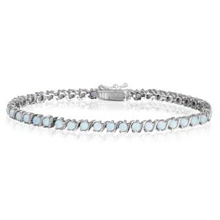 Glitzy Rocks Sterling Silver Created Opal Tennis Bracelet