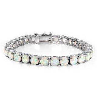 Glitzy Rocks Silvertone Created Opal Tennis Bracelet