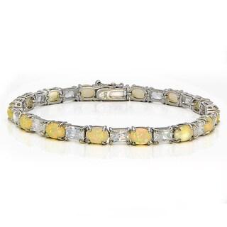 Glitzy Rocks Silvertone Created Opal Cubic Zirconia Tennis Bracelet