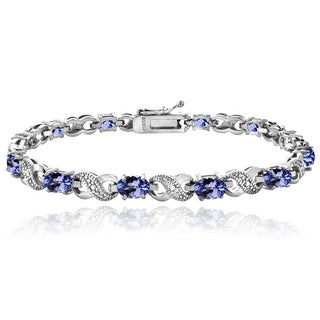 Glitzy Rocks Sterling Silver Tanzanite Diamond Accent Infinity Bracelet