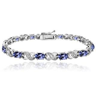 Glitzy Rocks Sterling Silver Tanzanite Diamond Accent Infinity Bracelet