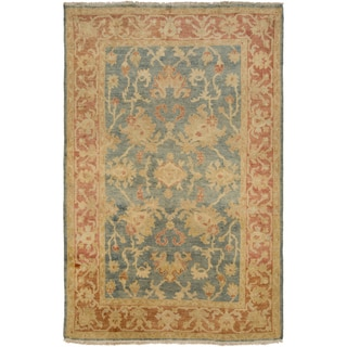 "Hand-Knotted Sallie Border New Zealand Wool Area Rug - 3'6"" x 5'6"""