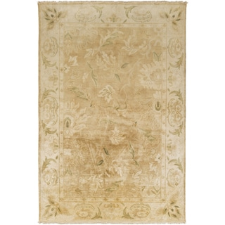 "Hand-Knotted Lawrence Border New Zealand Wool Area Rug - 3'6"" x 5'6"""