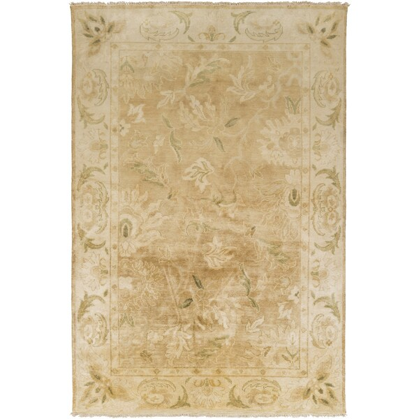 """Hand-Knotted Lawrence Border New Zealand Wool Area Rug - 3'6"""" x 5'6"""""""