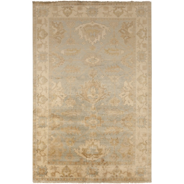 "Hand-Knotted Jude Border New Zealand Wool Area Rug - 3'6"" x 5'6"""