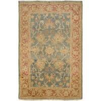 Hand-Knotted Sallie Border New Zealand Wool Area Rug - 5'6 x 8'6