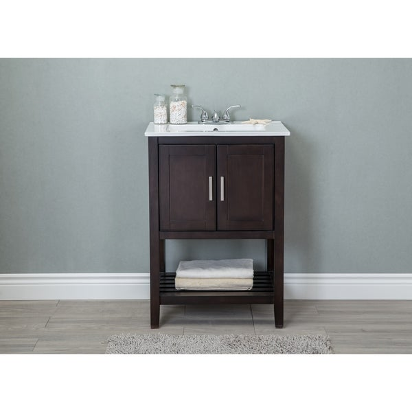 Bathroom Vanity in Antique Coffee with White Ceramic top - Shop 24 In. Bathroom Vanity In Antique Coffee With White Ceramic Top