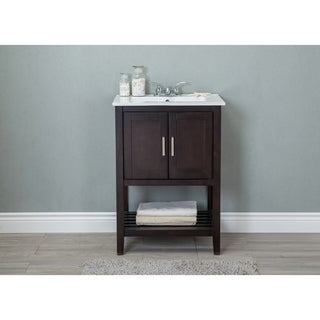 24 in. Bathroom Vanity in Antique Coffee with White Ceramic top