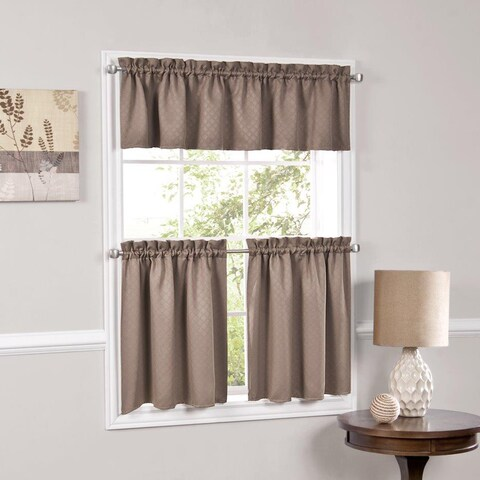 Facets Blackout Insulated Kitchen Curtain Parts- Tiers and Valances (Assorted Colors)