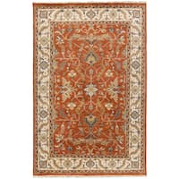"Hand-Knotted Jon Border New Zealand Wool Area Rug - 3'9"" x 5'9"""