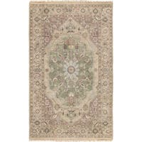 Hand-Knotted Demi Border New Zealand Wool Area Rug (3'9 x 5'9)