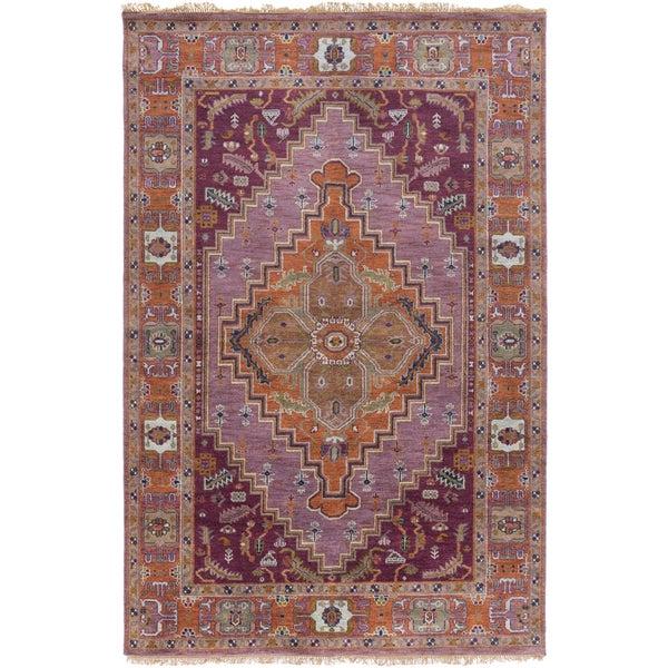 Hand-Knotted Joe Border New Zealand Wool Area Rug (5'6 x 8'6) - 5'6 x 8'6'