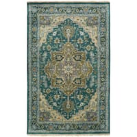Hand-Knotted Conor Border New Zealand Wool Area Rug - 5'6 x 8'6