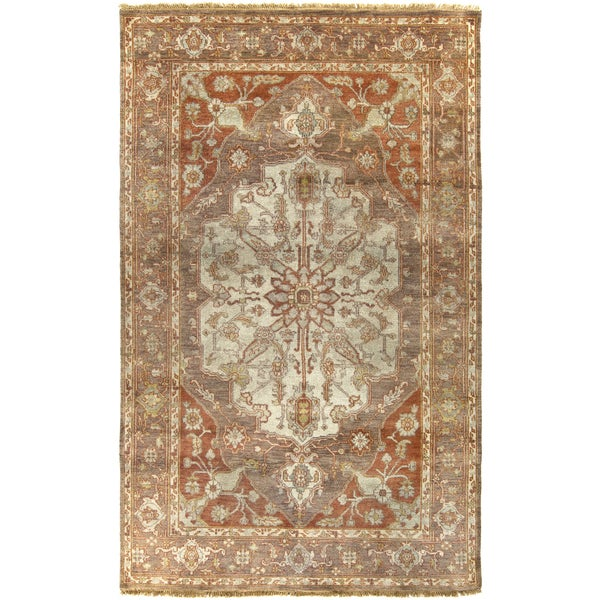 """Hand-Knotted Tim Border New Zealand Wool Area Rug - 5'6"""" x 8'6"""""""