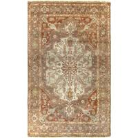 Hand-Knotted Tim Border New Zealand Wool Area Rug (5'6 x 8'6)