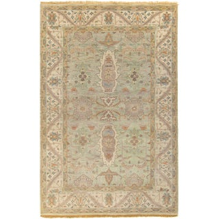 Hand-Knotted Alec Border New Zealand Wool Rug (5'6 x 8'6)