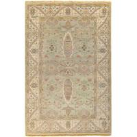 Hand-Knotted Alec Border New Zealand Wool Area Rug - 5'6 x 8'6'